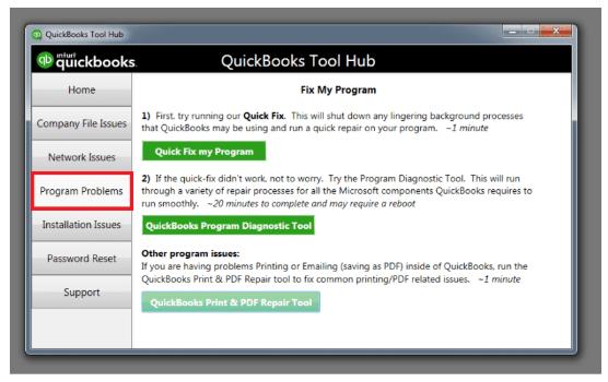 Program problems: Download Quickbooks tool hub