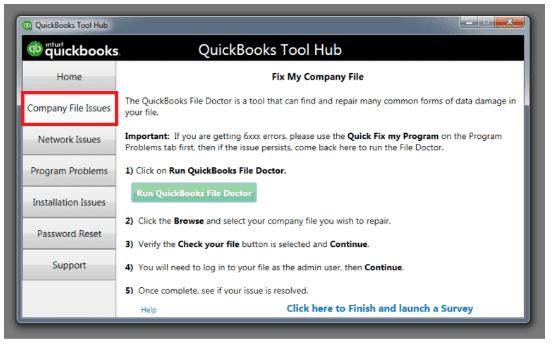 Company file issues: Quickbooks desktop tool hub