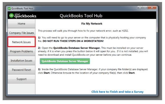 Network issues: Quickbooks hub tool