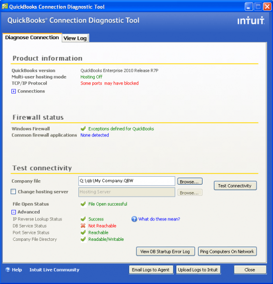 Components: Install diagnostic tool for Quickbooks