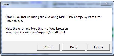 Error description: Quickbooks 2016 update error 1328