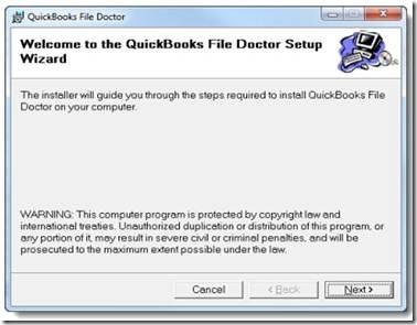 Screenshot: Quickbooks company file diagnostic tool