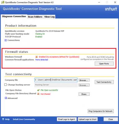 Firewall status: Quickbooks connection diagnostics tool