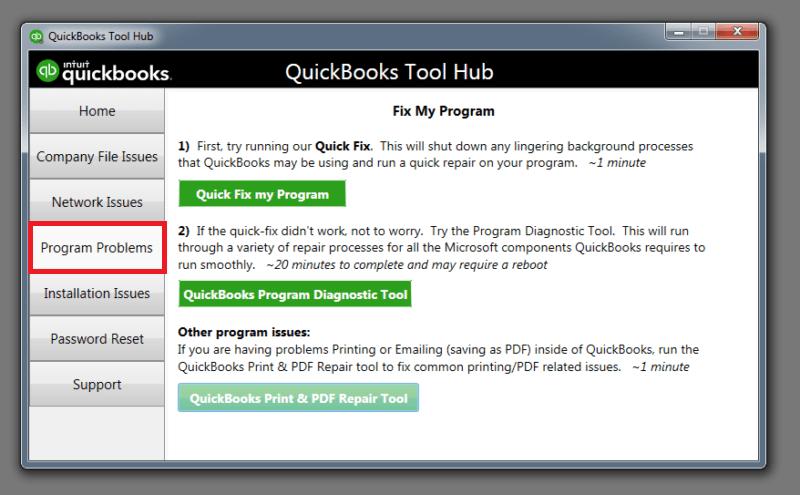 Run Quick fix my program: Quickbooks error 6189 and 816