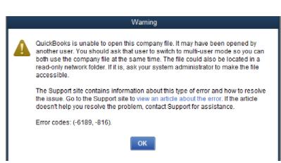 Error message: Quickbooks error 6189