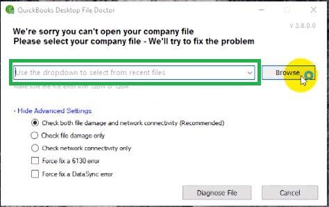 Browse file: Quickbooks repair tool