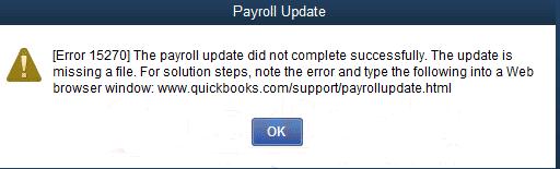 Error message: Quickbooks update error 15270